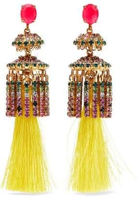 Elizabeth Cole 24-karat Gold-plated, Crystal And Tassel Earrings