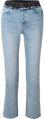 Alexander Wang Cult Duo Layered Distressed High-rise Straight-leg Jeans - Light denim