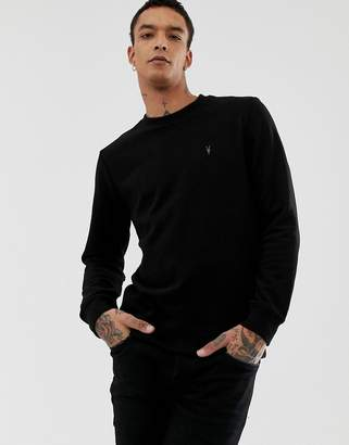 AllSaints soft touch sweatshirt with logo in black