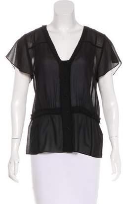 Frame Silk Short Sleeve Top