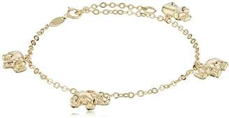 14k Yellow Color Gold Elephant Charm Bracelet