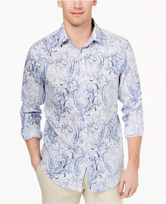Tasso Elba Men's Faded Paisley Linen Shirt, Created for Macy's