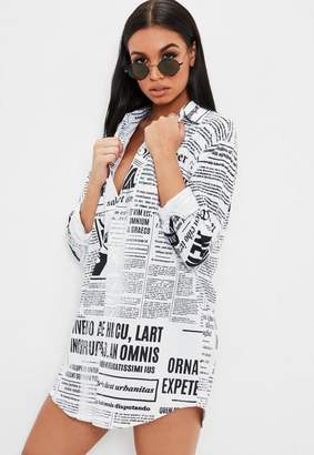 Missguided White Newspaper Print Long Sleeve Shirt Dress