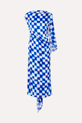 Dries Van Noten Open-back Draped Printed Silk-satin Midi Dress - Blue