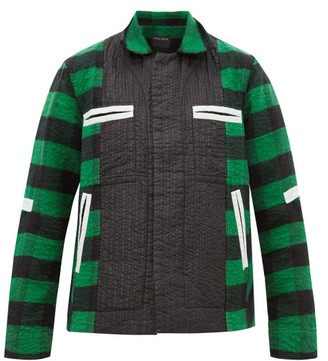 Craig Green Shell Trimmed Checked Cotton Blend Jacket - Mens - Green