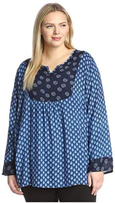 James & Erin Plus Women's Mixed Print Top