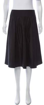 Max Mara Woven Knee-Length Skirt Navy Woven Knee-Length Skirt