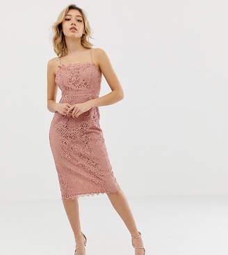 Asos DESIGN Petite square neck pencil midi dress in lace