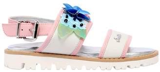 Simonetta Flower Embellished Leather Sandals