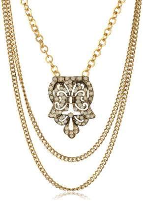 Yochi Plated Art Deco Statement Necklace