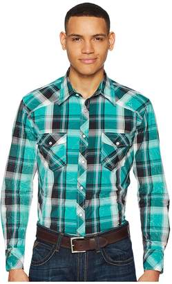 Rock and Roll Cowboy Plaid Long Sleeve Snap B2S5709 Men's Long Sleeve Button Up