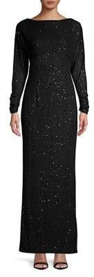 Vince Camuto Long-Sleeve Glitter Gown