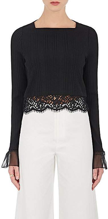 3.1 Phillip Lim 3.1 Phillip Lim Women's Lace-Embellished Rib-Knit Top