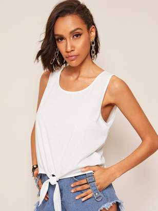 d0faf800c5fcd8 White Knotted Tank Top - ShopStyle