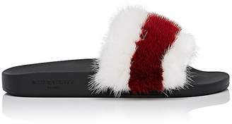 Givenchy Women's Striped Mink Fur Slide Sandals