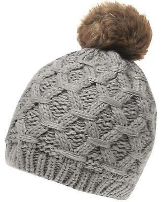Gelert Womens Cabel Pom Beanie Hat Warm Knitted