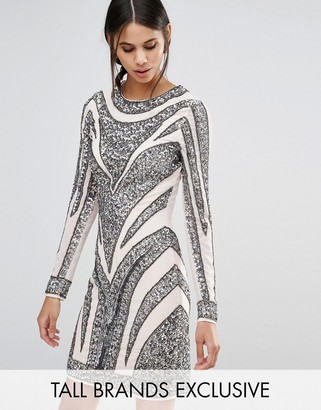 Maya Tall All Over Embellished Long Sleeve Mini Dress With Multi Color Sequin $158 thestylecure.com