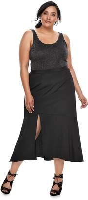 JLO by Jennifer Lopez Plus Size Front Slit Yoryu Maxi Skirt