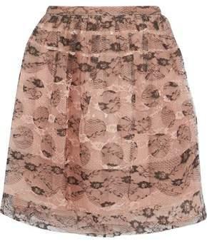 RED Valentino Layered Lace And Silk-Organza Mini Skirt