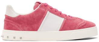 Valentino Pink and White Garavani Suede Flycrew Sneakers