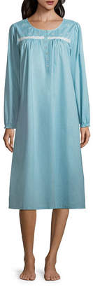 Adonna Woven Long Sleeve Round Neck Floral Nightgown