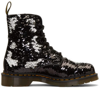 Dr. Martens Black and Silver Sequin 1460 Pascal Boots