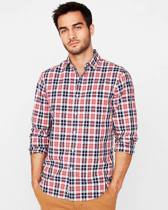 Express Classic Soft Wash Button Collar Flannel Shirt