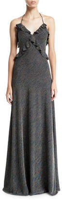 Jill Stuart Sleeveless Metallic Striped Knit Ruffle-Trim Gown