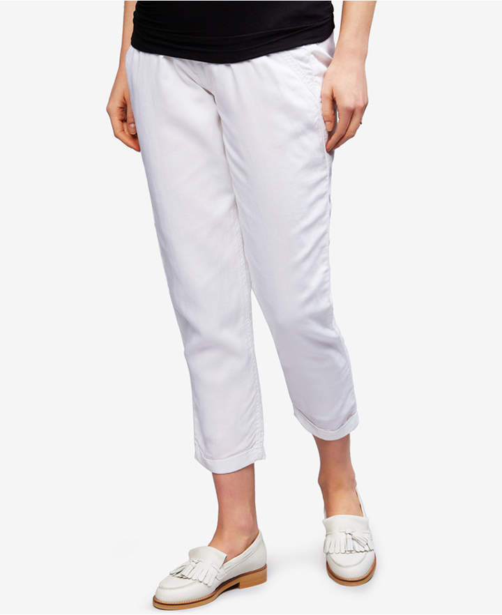 A Pea In The Pod A Pea In The Pod Maternity Linen-Blend Cropped Pants