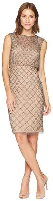 Adrianna Papell Fully Beaded Cap Sleeve Cocktail Dress Women's Dress