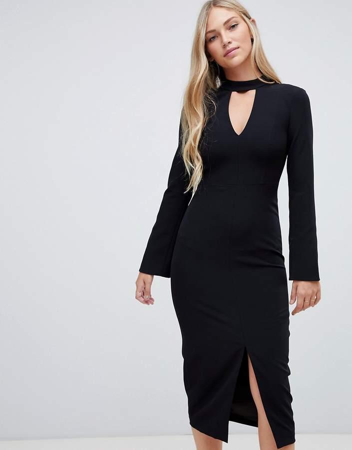 clean tailored midi dress in black