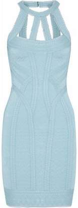 Herve Leger Linden Tulle-Trimmed Cutout Bandage Mini Dress