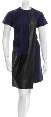 Celine Shift Vegan Leather-Accented Dress
