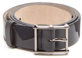 Valentino Studded Buckle Leather Camo Belt - Mens - Black
