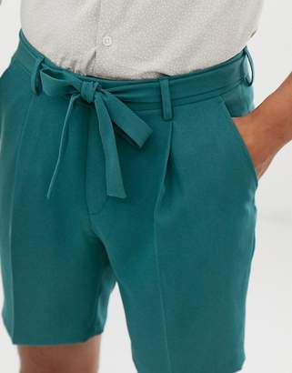 Asos Design DESIGN tapered smart shorts in teal crepe with a tie waist