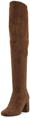Saint Laurent Suede 70mm Over-The-Knee Boot, Coffy $1,495 thestylecure.com
