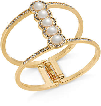 INC International Concepts I.n.c. Rose Gold-Tone Pave & Imitation Pearl Open Hinged Cuff Bracelet, Created for Macy's
