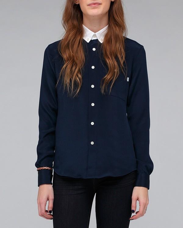 Combo Button Collar Shirt In Navy