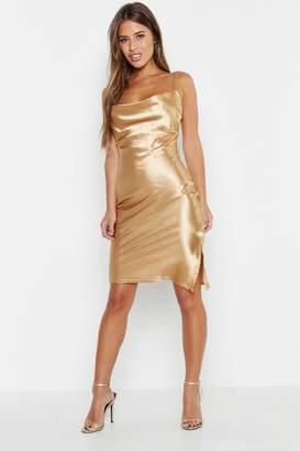 boohoo Petite Satin Cowl Neck Midi Slip Dress