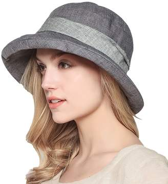 Yimidear Women Summer Beach Hat Breathable Cotton Bucket Hat Wide Brim Packable Sun Hat
