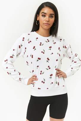 Forever 21 Cherry Print Fleece Pullover