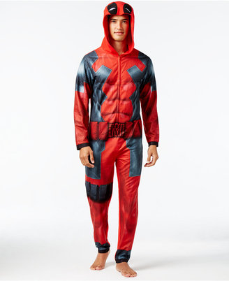 Briefly Stated Men's Deadpool Hooded One-Piece Pajamas $70 thestylecure.com