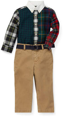 Ralph Lauren Childrenswear Poplin Plaid Patchwork Shirt w/ Pants & Belt, Size 6-24 Months