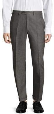 Brioni Marled Diagonal Wool Flat Front Trousers