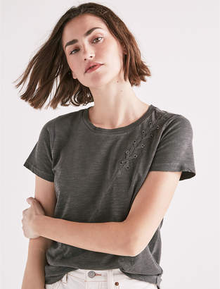 Lucky Brand Lace Up Shoulder Tee