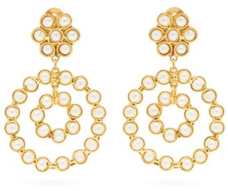 Sylvia Toledano - Pearl Embellished Clip Hoop Earrings - Womens - Pearl