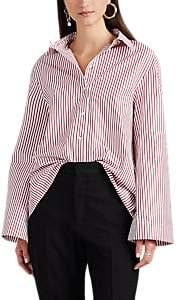 Teija Women's Gathered Striped Cotton Blouse
