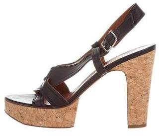 Lanvin Leather & Cork Platform Sandals