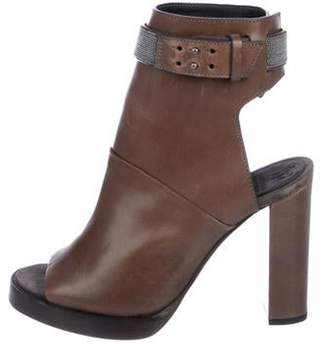 Brunello Cucinelli Monili Leather Boots Brown Monili Leather Boots