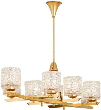 Rejuvenation Modern 8 Light Linear Chandelier w/ Textured Glass Cylinder Shades